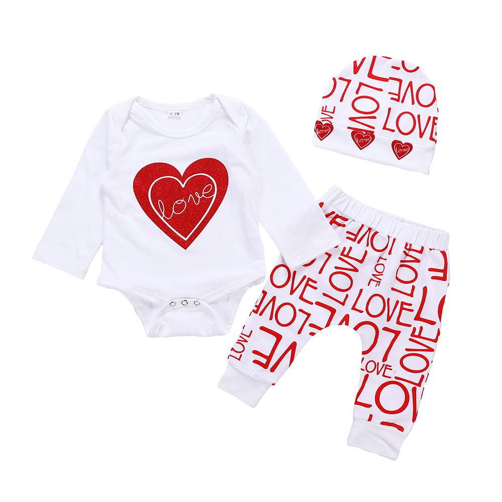 Baby Clothing New Newborn Infant Baby Girl Cotton Long Sleeve Romper+heart Pants Girls' Baby Clothing hat Outfits Set Clothes
