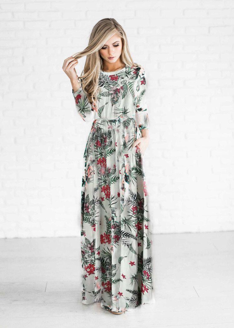 Großhandel Damenmode Frühling Atumn Kleidung Classic Print Maxi Kleider  Langarm Rock Casual Kleider Prinzessin Kleid Von Longcailian, 14,14 € Auf