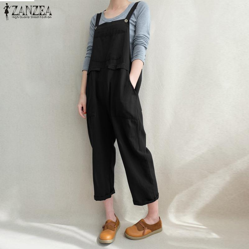 067db894f0 2019 Plus Size2018 ZANZEA Women Strappy Pockets Cotton Linen Loose Dungarees  Bib Overalls Solid Jumpsuits Casual Retro Baggy Rompers From Carawayo