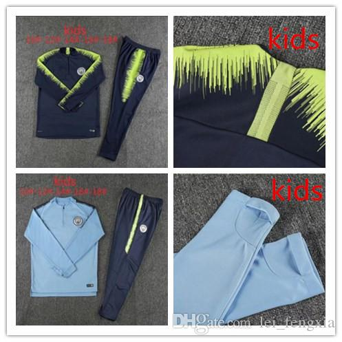 Compre 2018 19 Trajes De Tracksuit Para Niños Del Manchester City Chaqueta  Con Pantalones De Zipper Set De Byuyne Sterling Kun Aguero Chándal De ... bc7ec0a8a1a9d