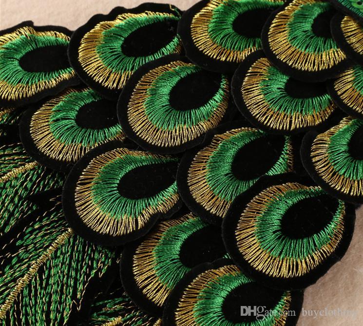 Parche ropa lentejuelas coser parches de motorista para parches de bordado de ropa de moda insignia del logotipo del pavo real Hotsale