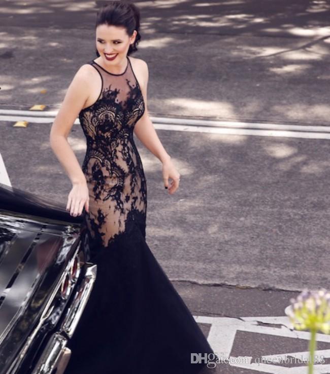 Einzigartige Schwarz Lange Mermaid Brautkleider 2018 Juwel Hals Backless Spitze Tüll Formale Kleider für Braut