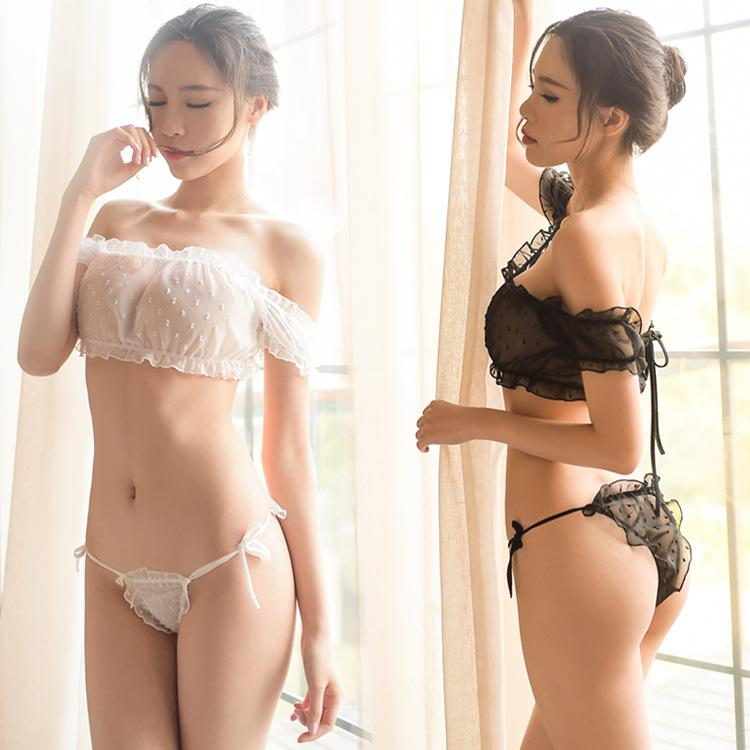 c17fb168f4e New sexy lingerie transparent bra suit word shoulder tube top pajamas sexy  temptation sexy three-point suit