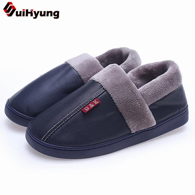 e970cb107982 Wholesale Winter Indoor Slippers New Women Men Warm Plush Home Slippers  Soft PU Leather Fleece Insole Cotton Flat Shoes Slip ON Womens Ankle Boots  Ladies ...