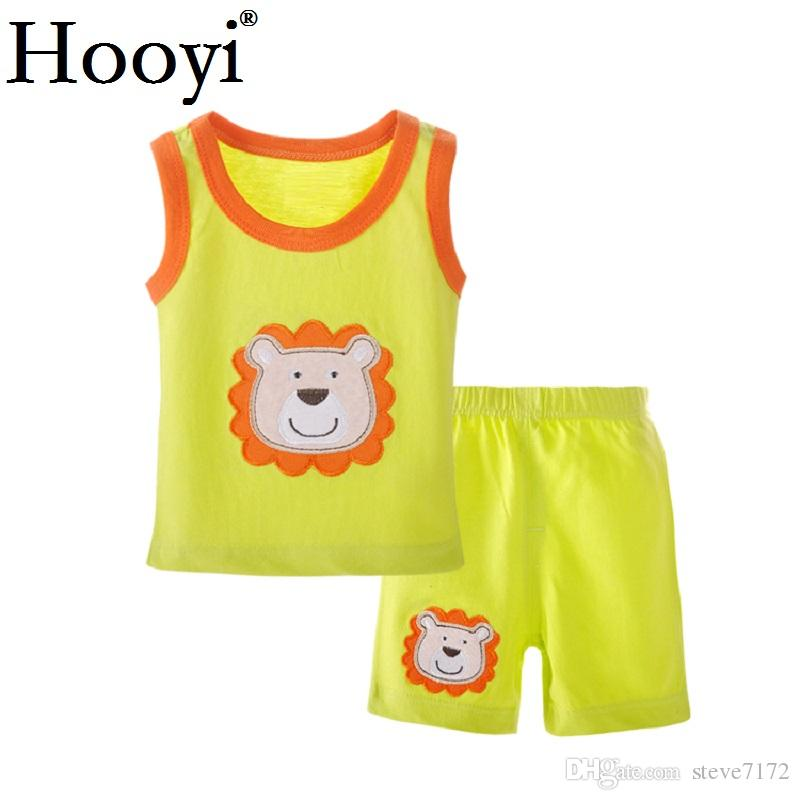 Summer Baby Girl Pajamas Clothes Sets 100% Cotton Sleeveless Newborn Tank Top Hot Shorts Pant Infant Singlet Clothing Suit 0-3Y