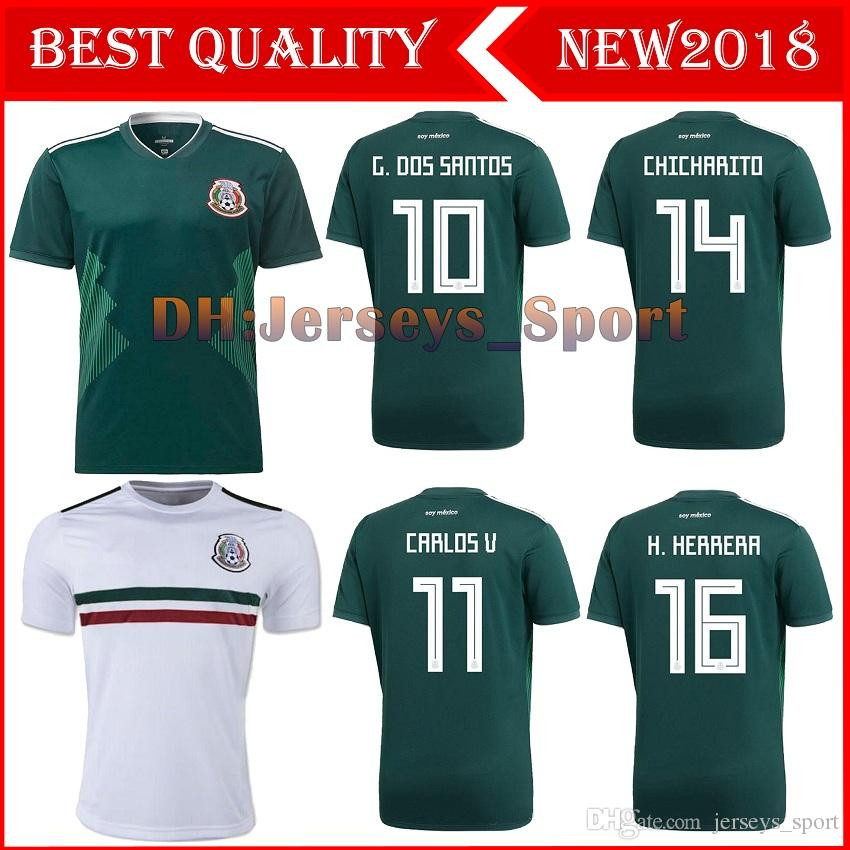 43af2ad6fa7 2019 2018 World Cup Mexico Soccer Jersey Home Away 17 18 Green CHICHARITO  Camisetas De Futbol Hernandez G DOS SANTOS Football Shirts From  Jerseys sport