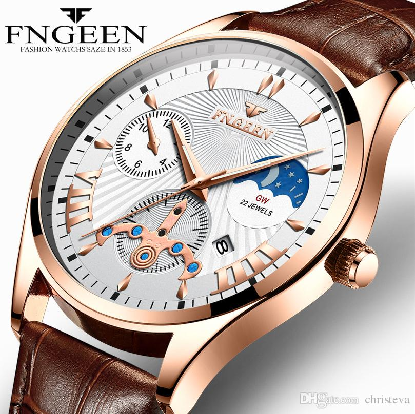 Men's Fashion Business Quartz Watch 2018 Top Brand FNGEEN Luxury Leather Watchband Wristwatch Date Hour Male Clock reloj hombre Men Watches