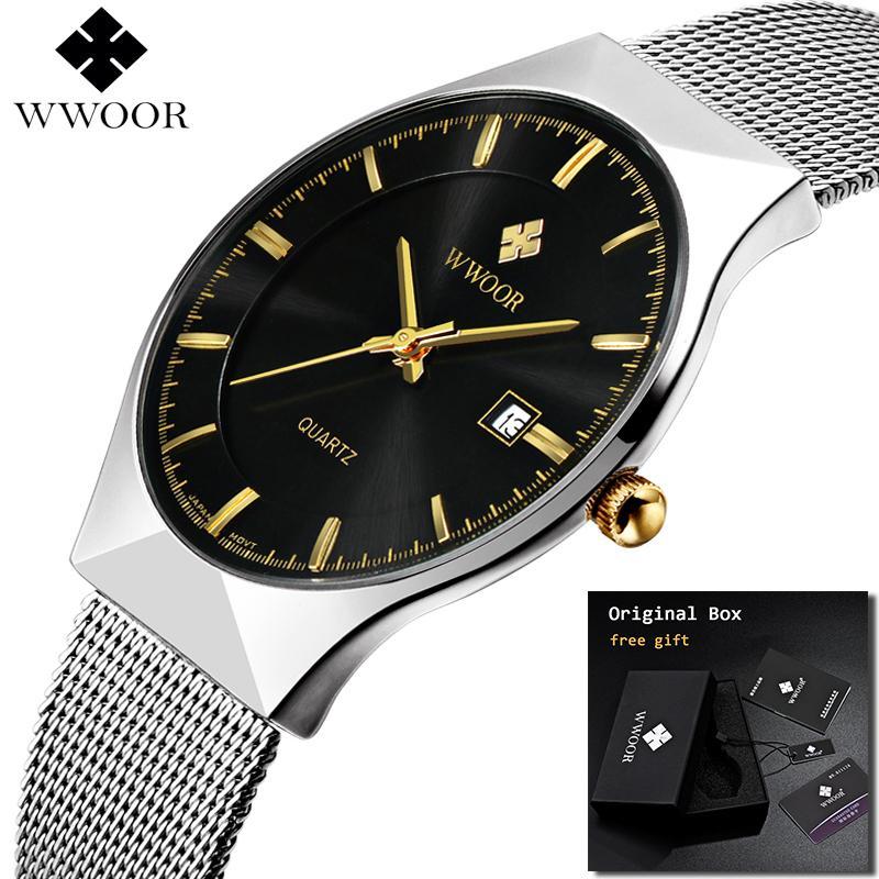 a693e20815b Compre 2018 WWOOR Ultra Fino Moda Masculina Relógio De Pulso Top Marca De  Negócios De Luxo Relógios À Prova D  Água Relogio Resistente Homens Relógio  ...