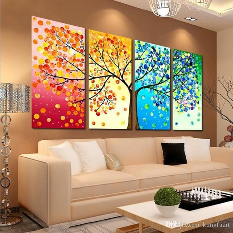 Handmade Abstract Tree Painting Hanging On Wall Modern Wood Wall Art 4 Pieces Panel Art 4 Season Living Room Home Decoration