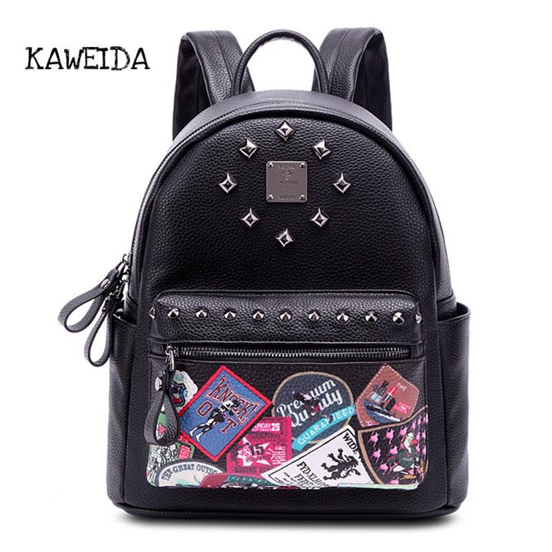 0f66d35eabc7 Cute Mini Genuine Leather Backpack Fashion Print Small Day Pack For Girls  Women Rivets Studded College School Bags For Teenager Messenger Bags Leather  ...