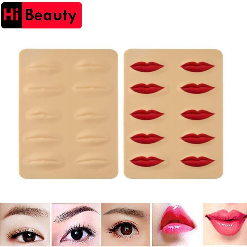 10pcs/lot 3D Silicone Permanent Makeup Tattoo Training Practice Fake False  Skin Lips For Microblading Tattoo Machine Beginner