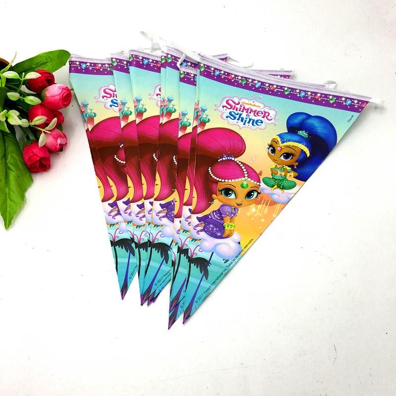 2019 Shimmer Shine Banner Kids Baby Shower Party Supplies Shimmer