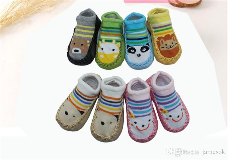 Meias de sapatos de bebê Crianças Infantil Meias Dos Desenhos Animados Do Presente Do Bebê Crianças Piso Interior Meias de Couro Sola Não-Slip Toalha De Espessura TO457