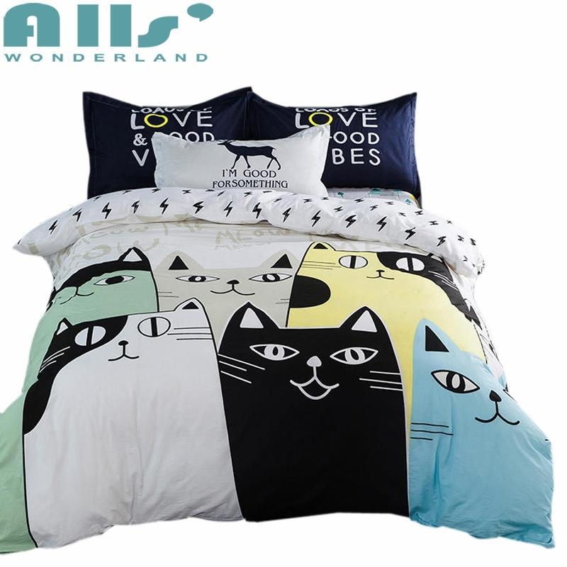 Lovely Cat Cartoon Kids Bedding Set Bed Linen 3d Bedding Sheet Duvet Cover  Pillowcases Twin Queen King Size 100% Cotton Queen Size Comforter Sets  Luxury ...