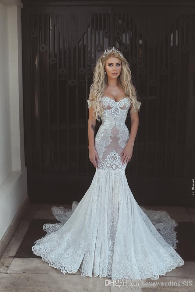 2019 Glamorous Lace Applique Sereia Vestidos De Noiva Fora Do Ombro Custom Made Vestidos De Noiva Dubai Árabe Vestido de noiva