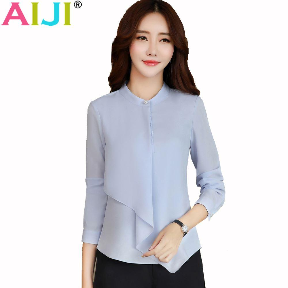 303df84e60947 2019 Spring Summer Elegant Long Sleeve Blouses Women OL Career Collar  Chiffon Shirts Tops Ladies Office Business Plus Size Work Wear From Missar