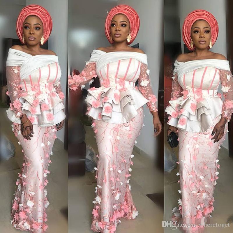 Nigerian Lace Mermaid Evening Dresses 2018 Illusion
