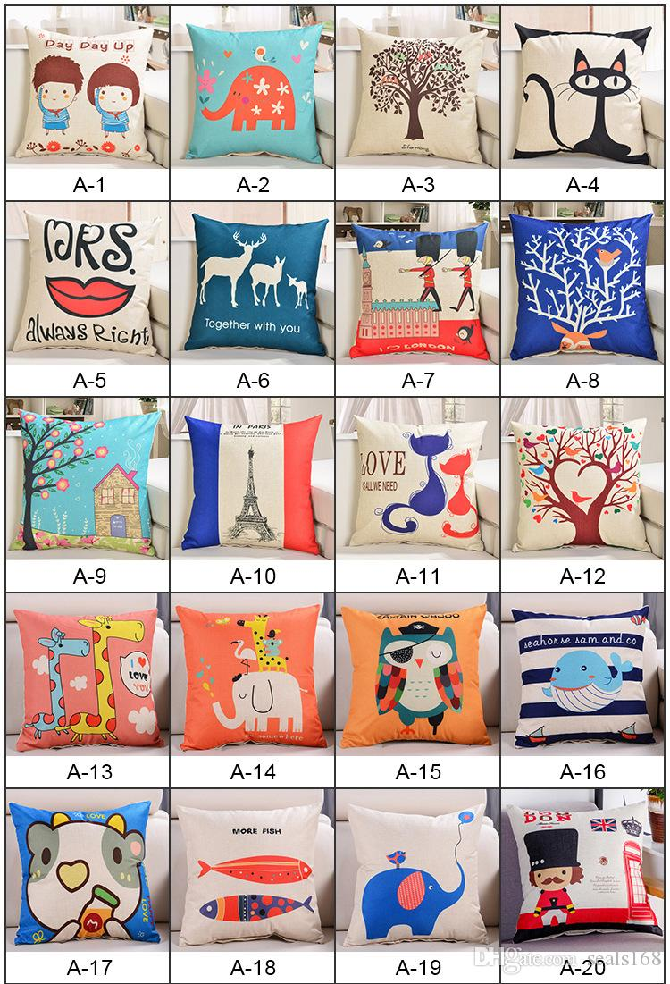 Animal Pillow Case Cover Car Home Cushion Printed Letter Cover Sofa Decorative Throw XMAS Gifts 140 Designs HH7-875