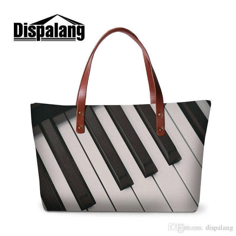 Hot Sale Neoprene Handbags For Women Large Capacity Shopping Tote Bag Piano  Guitar Printing Ladies Party Top Handle Bags Girls Traveling Bag Womens  Bags ... 26ad708e5