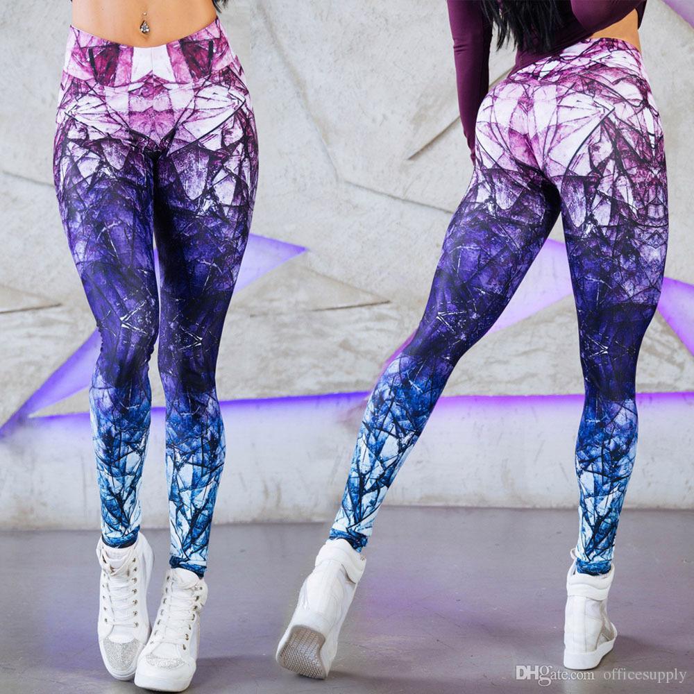 4757690d3b Compre Contraste Cor 3D Impresso Mulheres Calças De Dança Yoga Sexy Leggings  Finas Mashed Up Perfeito Longo Treino Esportivo De Officesupply