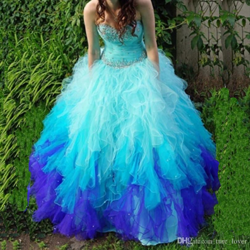Gerçek Görüntü İki Tonlu Boncuk Kristaller Quinceanera Elbiseler Sevgiliye Boyun Lace Up Geri Sweep Tren Tül Balo Balo Elbise