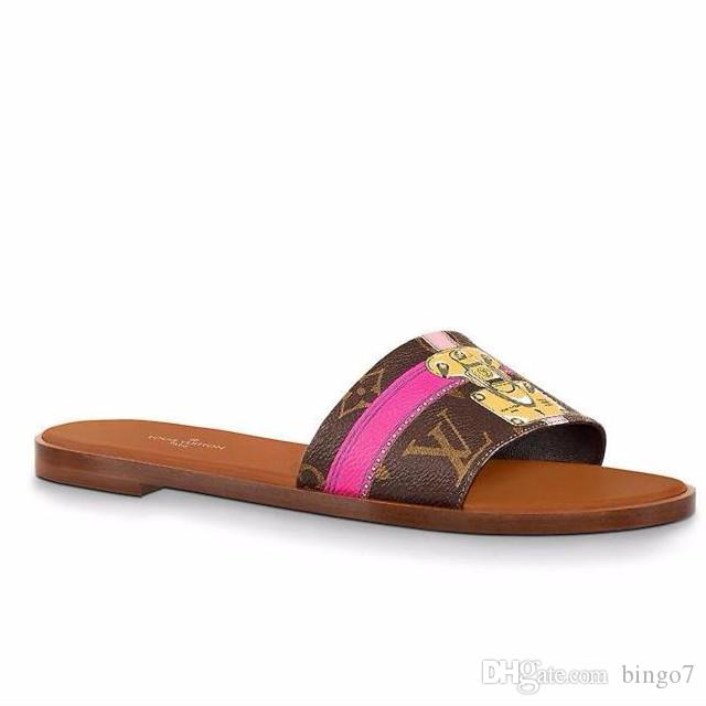 Branded Print Leather Slippers Lock-It Mule Damier Azur Slipper Pink Brown Leather Trim Slide Sandal Boxed Size 35-41