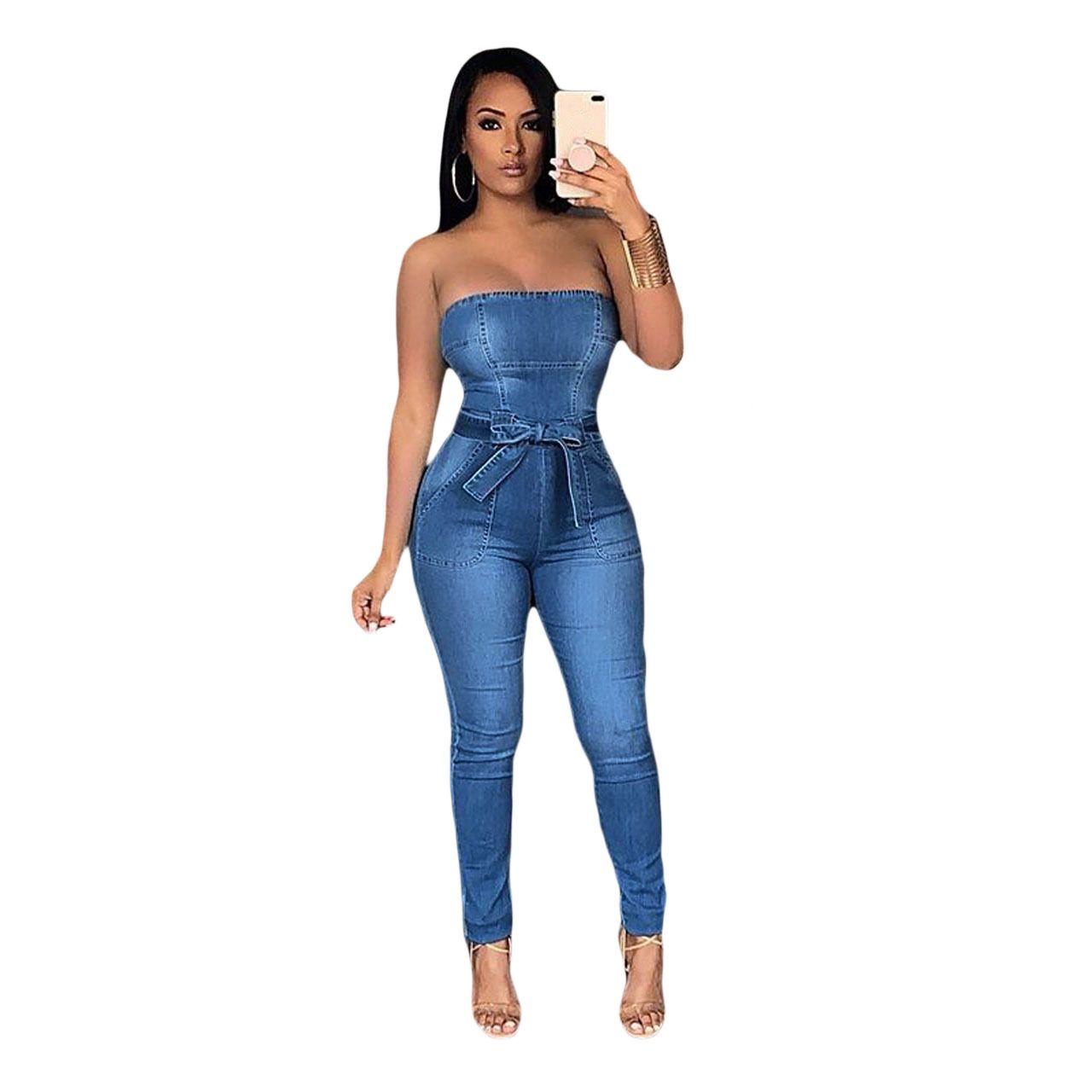 a851c9a0d49 2019 2018 Fashion Women Jumpsuits Slim Casual Solid Denim Jumpsuit Female  Long Pant Jumpsuit Strapless Bodycon Romper Overalls From Qingyun1996