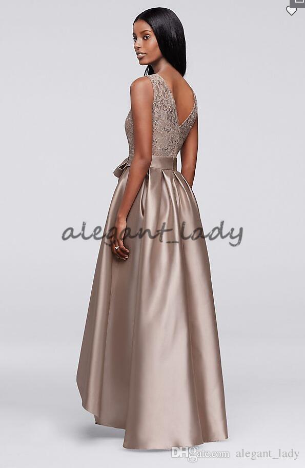 Vestido de laço de lantejoula marrom com saia mikado mãe da noiva noivo vestido de alta jóia de alta jóia festa formal vestido de baile com faixa de arco