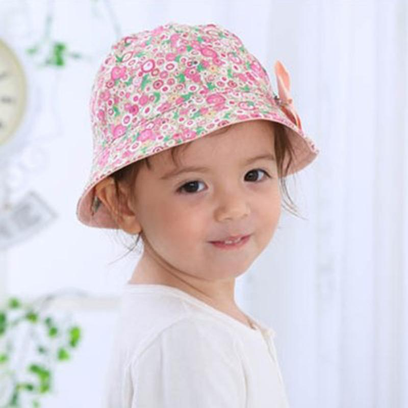 2019 2018 New Summer Baby Girls Sun Hat Cotton Baby Hat Kids Child Cap Bow  Flower Print Bucket Double Sided Can Wear From Paradise13 aa43c6c0bc1