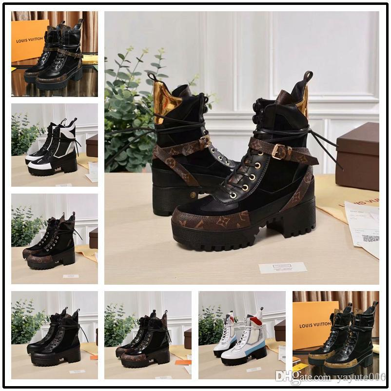 952d26e2a702 23 Style Laureate Platform Desert Boot Luxury Brand Chunky Heel Women Ankle  Boot Designer Martin Boots Ladies Party Botas Outdoor Hiking Boo Military  Boots ...