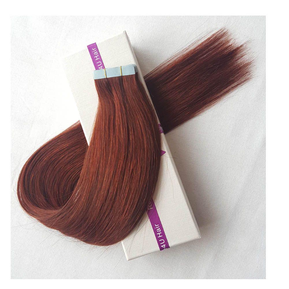 100 Human Hair Tape In Hair Extensions Dark Auburn Remy Balayage