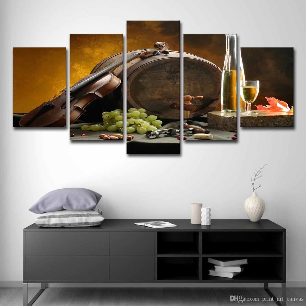 Großhandel Leinwandbilder Küche Wandkunst 5 Stück Weinglas ...