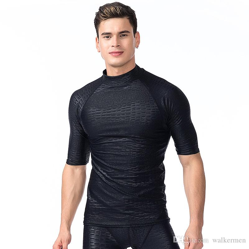 6678e21760 2019 2018 Men Short Sleeve Rash Guard Swimwear Shirts Black Solid Sun  Protective Lycra Surf Wetsuit Tops Snorkel Swimming Windsurfing Rashguard H  From ...