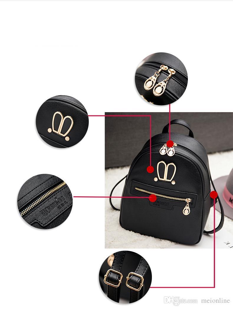 Мода Женская рюкзак стиль PU мягкая кожаная нить молния простой дизайн черный розовый золотой серый цвет