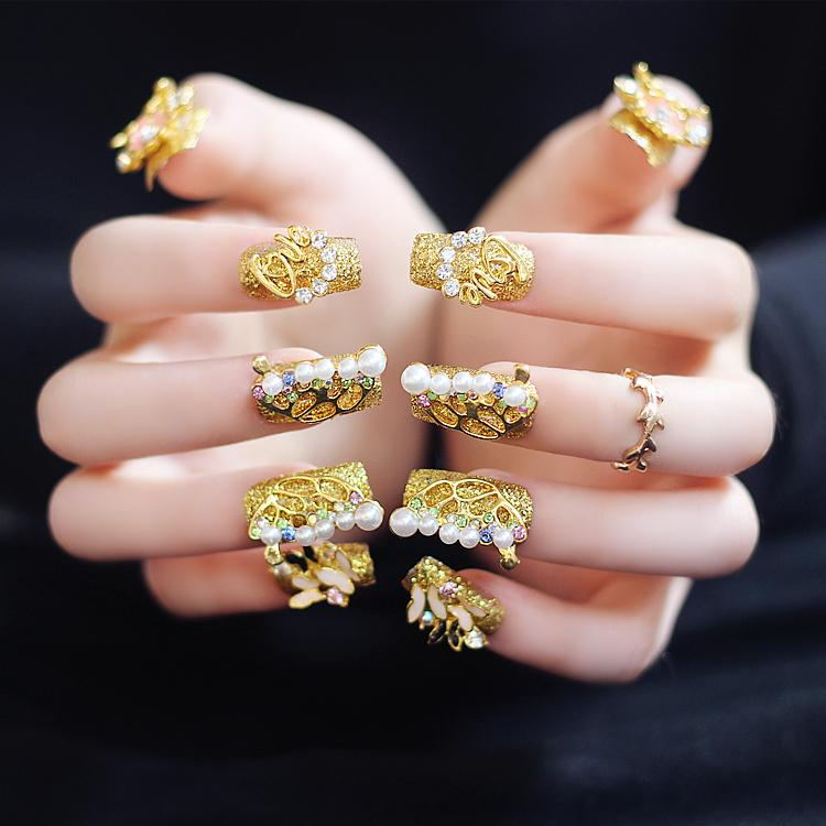 Golden Wedding Fake Nails Long Square Luxurious Rhinestones Pearls ...