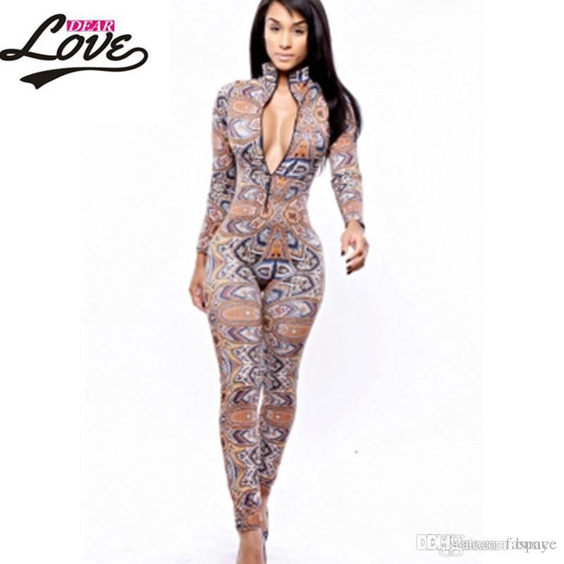 790bf9c7311 2019 Wholesale Sexy Jumpsuit Women Macacao Feminine 2017 Clubwear Bodycon  Rompers Womens Jumpsuit Long Pants The Thai Tribal Jumpsuit LC6747 From  Bunye