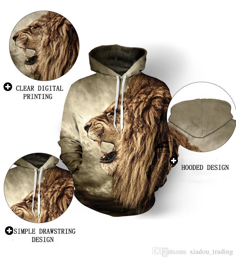 Femmes Sport Hoodies Lion 3D Imprimer Lâche Créatif Sweats À Manches Longues Sportwear Oversize Shirt Automne Running Exercice De Baseball Uniforme