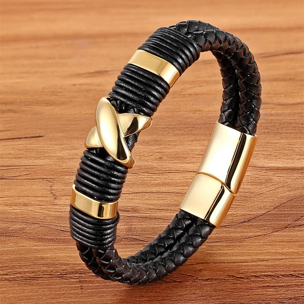 XQNI 2018 New Fashion Luxury Accessories Bangle Men Genuine Leather Bracelet Gold with Geometric/Skeleton Design Jewelry Present
