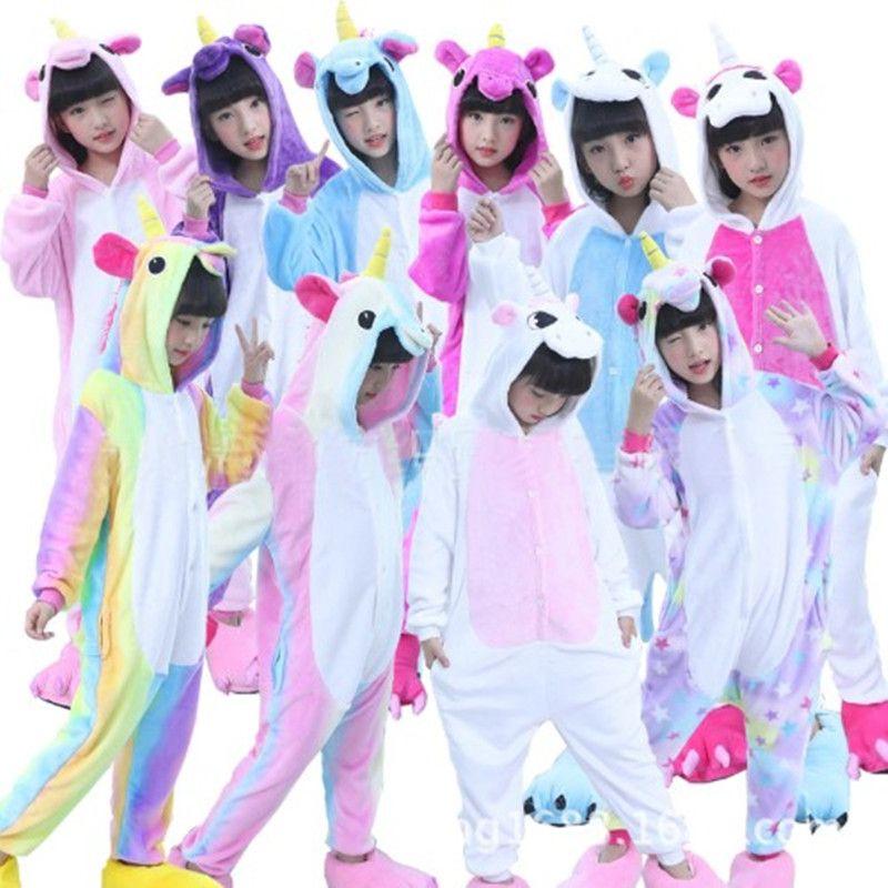 f7d2936939aa Kids Pajamas Unicorn Winter Cartoon One Pieces Animal Pyjama Flannel  Nightgown Children Girls Blanket Sleeper Christmas Costume Children S  Pyjamas Pajamas ...
