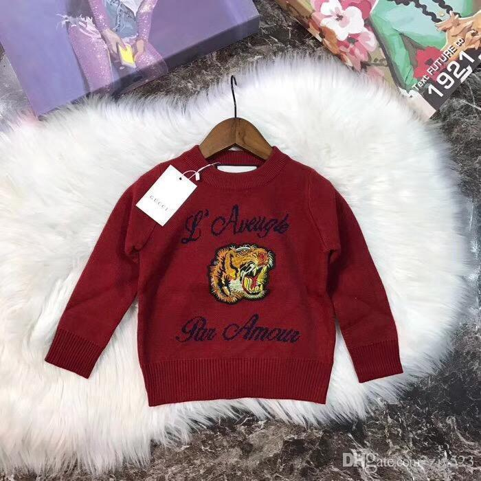 Wine Red Embroidered Patch Tiger Head Explosion Models Bunny Blended Knit Sweater Fabric Super Soft Thread Cuff Design