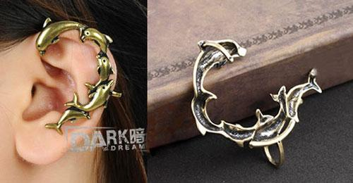 High Quality Vintage Punk Womens Bronze Dolphins Clip Earring Mens Ear Cuff Jewelry Gift