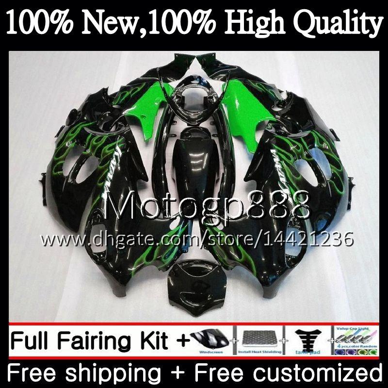 Body For SUZUKI KATANA GSXF 600 750 GSXF750 Green flames 03 04 05 06 07 22PG5 GSX600F GSXF600 2003 2004 2005 2006 2007 Fairing Bodywork