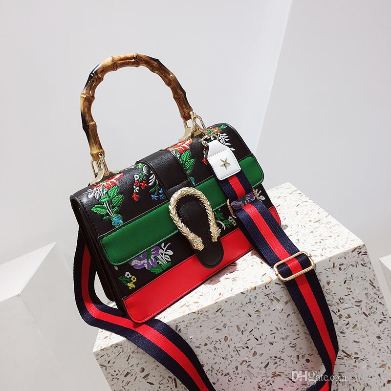 02ac614316 2018 Fashion Candy Color Lady S Embroidery Handbag Soft PU Leather Women Bag  Brand Designer Shoulder Bag Messenger Bag Mens Leather Bags Italian Leather  ...