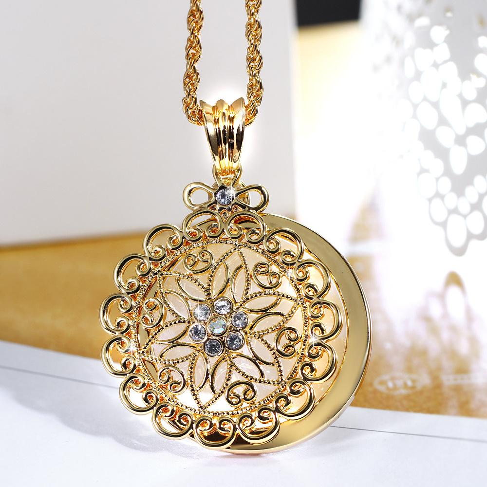 whole sale2018 New look Top Sell Flower Reading Glass White Crystal Gold-color Trendy Gift Women Brand Pendant Fashion Necklace Magnifier