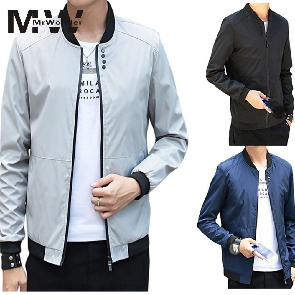 c67bba55b03 Mrwonder Men Fashion Plus SIze Zipper Jackets Casual Baseball Jacket Stand  Up Neck Trendy Smooth Waterproof Coats SAN0 Coat Jacket Sale Denim Jacket  With ...