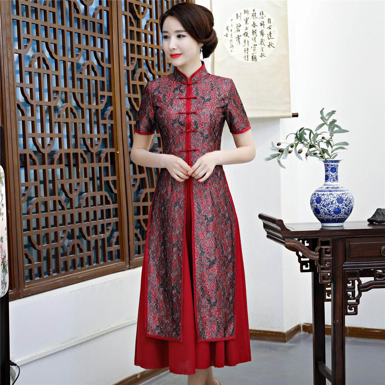 603b5385c Fotos De Vestidos De Festa Xangai História 2019 2 Peças Set Qipao Longo  Chinês Dress Chiffon Estilo Oriental Dress Manga Curta Cheongsam Para Mulher  ...