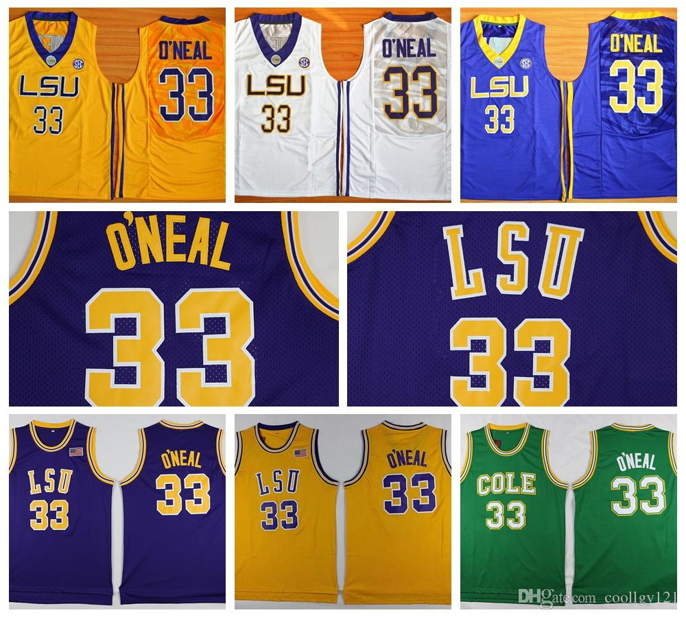 5c2f81712ce8 ... top quality lsu tigers 33 shaquille oneal jersey mens purple yellow  university shaquille oneal colle
