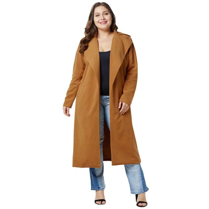 sale retailer 8ec70 36d7d WHZHM Herbst Plus Größe 4XL Mantel Frauen Volle Hülse Jacke Weibliche  Umlegekragen CasualPockets Dunkelblaue Wolle Mischungen 3XL Mantel