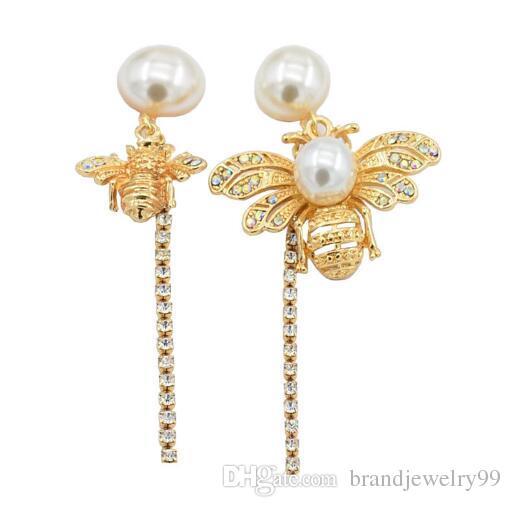 df921dce5ea Personality Asymmetry Bee Earrings Long Crystal Tassel Dangle Drop ...