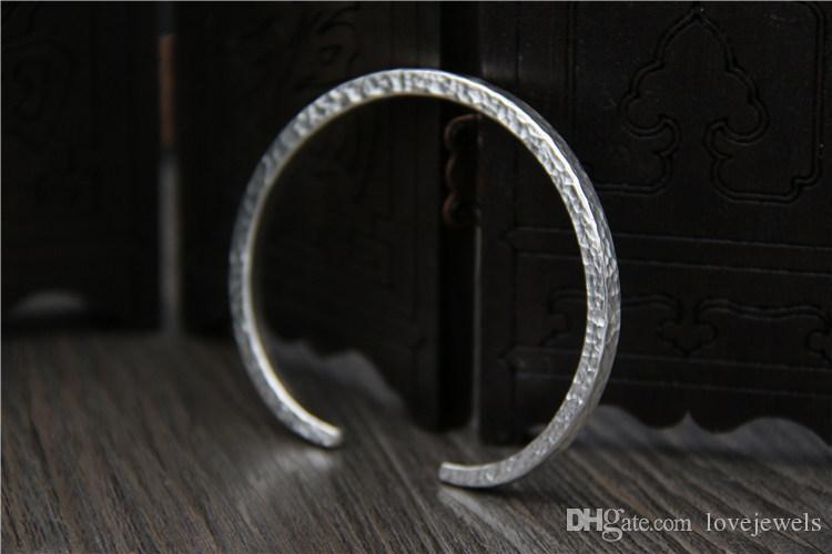 handmade vintage Thai silver 999 sterling silver bracelet women's minimalist opening banging foot silver bracelet snap jewelry china goods